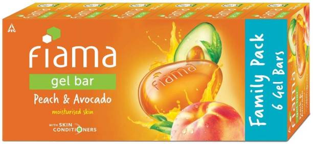 FIAMA Gel Bar Peach and Avocado, 125g (Pack of 6)
