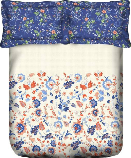 PORTICO NEW YORK 144 TC Cotton Double King Printed Bedsheet