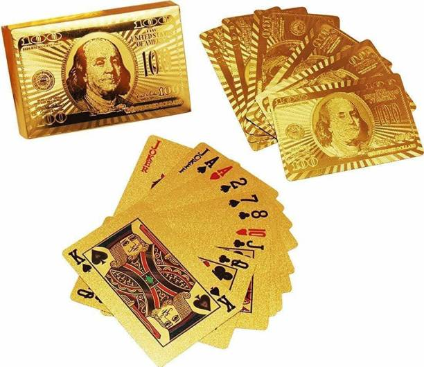 ARONET Gold Plated Poker Playing Cards, Classic PVC Poker Table Cards (Golden)