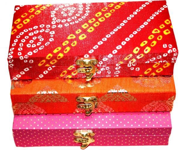 Vihaan Fashions Decorative Shagun Cash Box Envelop Wedding Gift PACK OF 3 (Wood, Multi) Cash Box
