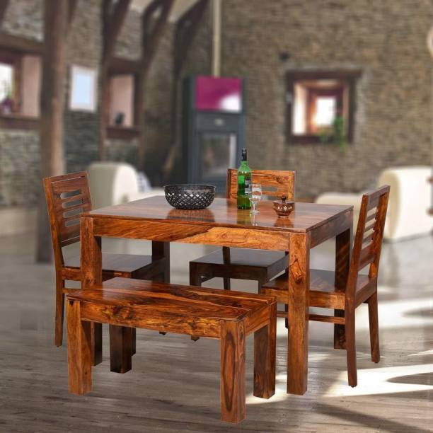 FURINNO Solid Wood 4 Seater Dining Set