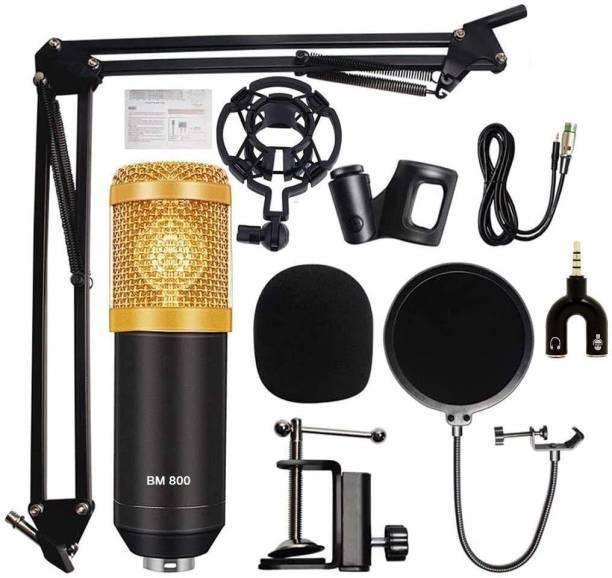 TechBlaze Studio Recording Microphone Set, Studio Mic Kit With Adjustable Mic+ Boom Scissor Arm Stand+ Pop Filter XRL To 3.5mm + 3.5mm Audio Splitter Studio mic set