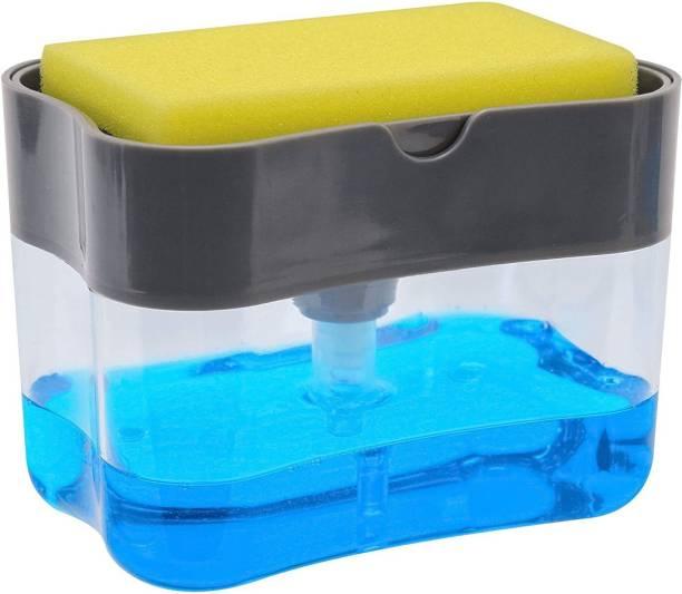 Torexo Plastic Liquid Soap Press-Type Pump Dispenser with Sponge Holder for Kitchen Sink Dishwasher 385 ml Liquid, Soap, Gel Dispenser