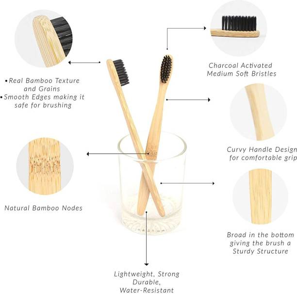 Just Beleaf in Bamboo Toothbrush Charcoal Activated Soft Bristles Biodegradable (Pack Of 10) Medium Toothbrush