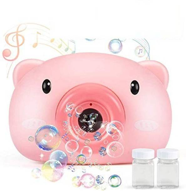 Joy Bukket Bubble Camera Series, Camera Shape Bubble Machine with Bubble Solution for Kids - Automatic Bubble Blower Machine with Music and Light (Pink) Toy Bubble Maker