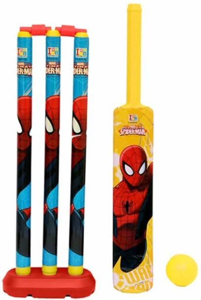 vworld Unbreakable Kids Cricket Kit Set with Bat,Balls, Wickets,Bells- Indoor Beach Outdoor Garden Play Set for 2-6 Yrs Kids ( Avenger Style,24 inch) Cricket