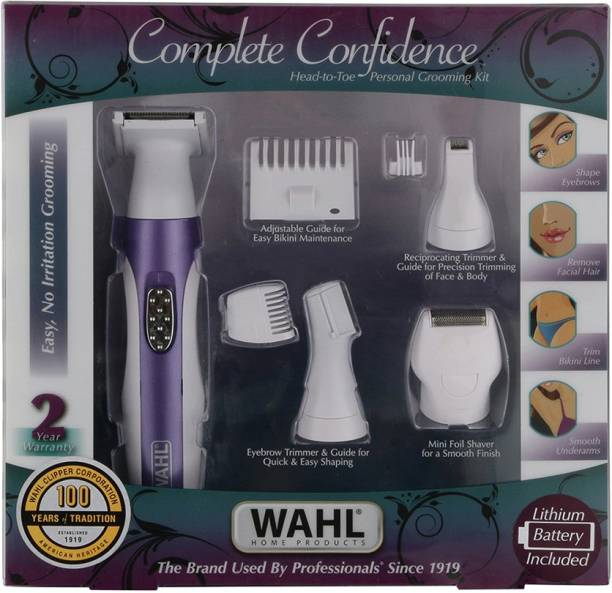 WAHL 05604-324 Women Complete Confidence Cordless Grooming Kit  Runtime: 30 min Trimmer for Women