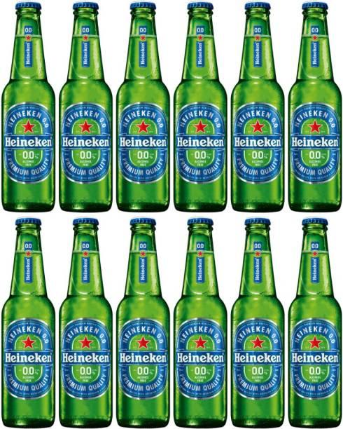 Heineken 0.0 Non Alcoholic Lager Beer - Zero Dot Zero Bottles (Pack of 12 Bottle, 330ml Each) Glass Bottle