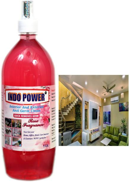INDOPOWER Disinfectant Sanitizer Spray ANTI GERM CLEAN (QUICK REMOVES GERM) ROSE 1ltr.
