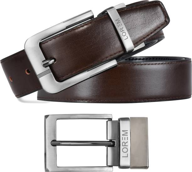 LOREM Men Evening, Party, Formal, Casual Black, Brown Artificial Leather Reversible Belt