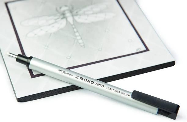 Tombow Holder Eraser, Mono Zero Round Shapre Silver (EH-KUR04) Non-Toxic Eraser