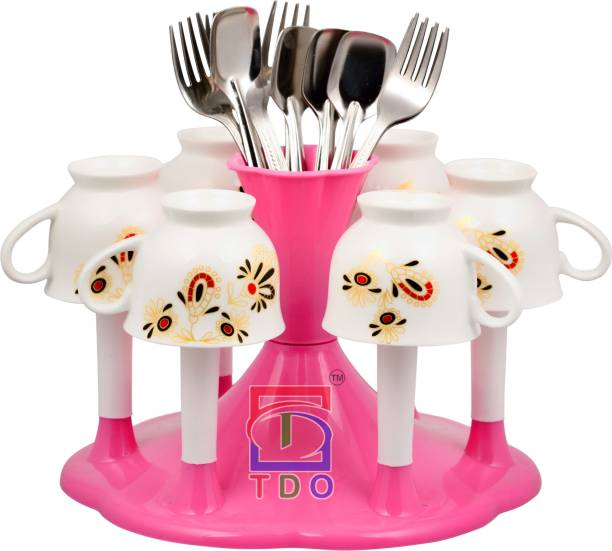 TDO PINK Stylish Plastic With Spoon Organizer GLASS STAND Plastic Glass Holder