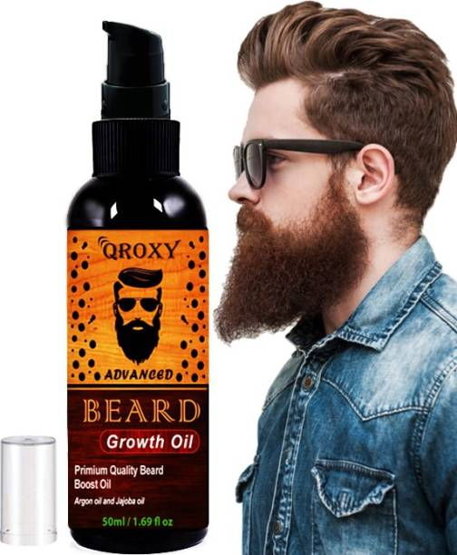Qroxy Advanced and Orgaic Beard Growth Oil for strong and healthy beard growth organic beard oil Hair Oil