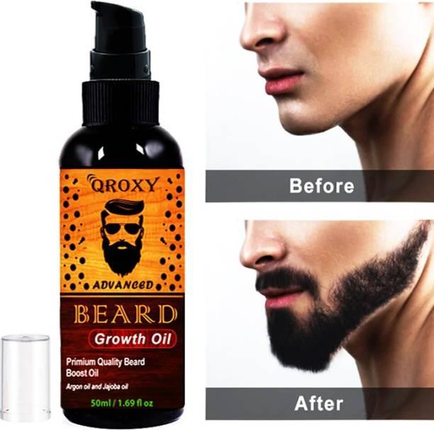 Qroxy Advanced and Fast organic Beard Growth Oil for strong and healthy beard growth organic beard oil Hair Oil