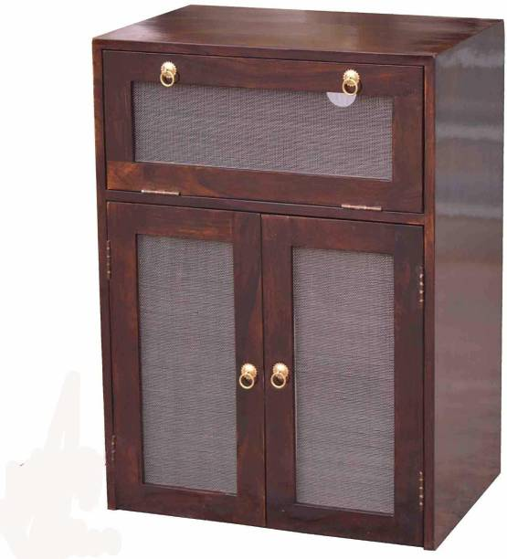 Woodware Solid Sheesham Wood Inverter Battery Cabinet Trolley for Inverter and Battery