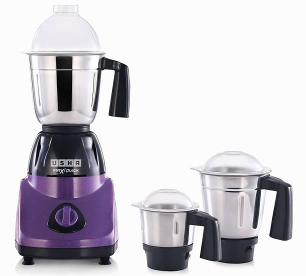 USHA MQ500M13 Maxi Quick 500 W Mixer Grinder (3 Jars, Purple, Silver, Black)