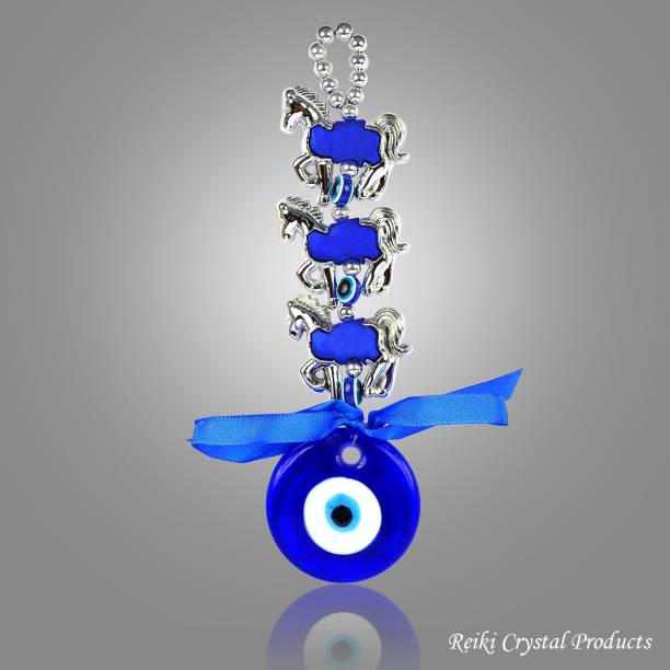 REIKI CRYSTAL PRODUCTS Feng Shui Evil Eye Hanging Seven 7 Horse Evil Eye Silver Horse With Evil Eye Hanging Idol For Protection and Prosperity Decorative Showpiece  -  23.5 cm