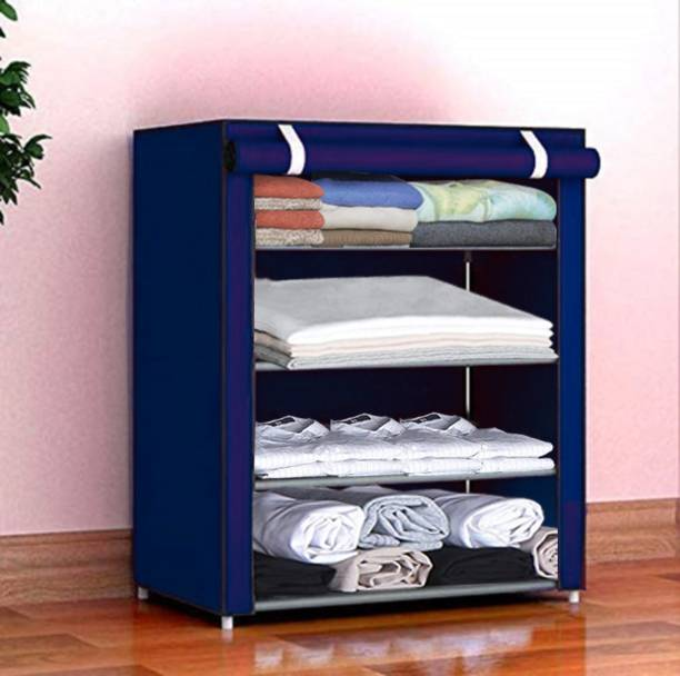 Sasimo 1-Door 4-Shelf Fabric Collapsible Carbon Steel Collapsible Wardrobe