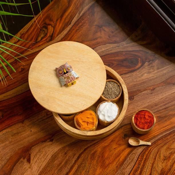 ExclusiveLane 'Rainbow Owl Motif' Spice Box With Spoon In Mango Wood 1 Piece Spice Set