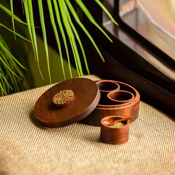 ExclusiveLane Hand Carved Refreshment Box With Spoon In Sheesham Wood 1 Piece Spice Set