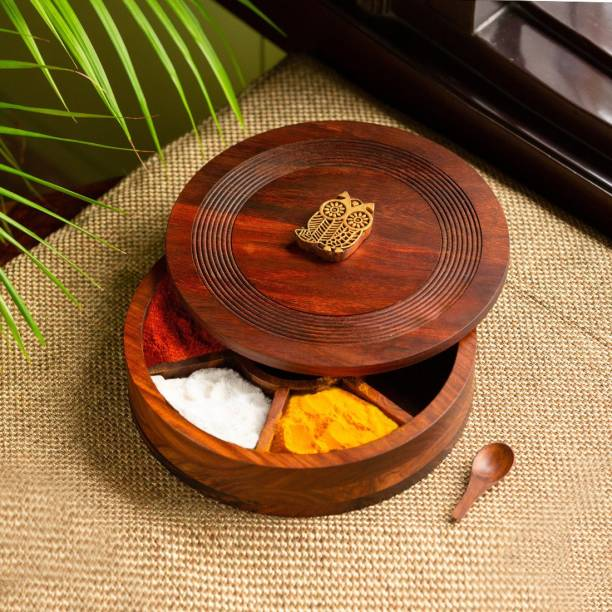 ExclusiveLane 'Mystic Owl Block' Hand Carved Spice Box With Spoon In Sheesham Wood 1 Piece Spice Set