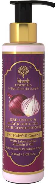 Khadi Essentials Red Onion Hair Conditioner for Hairfall Control with Black Seed Oil, Jaborandi & Vitamin E Sulphates and Parabens Free