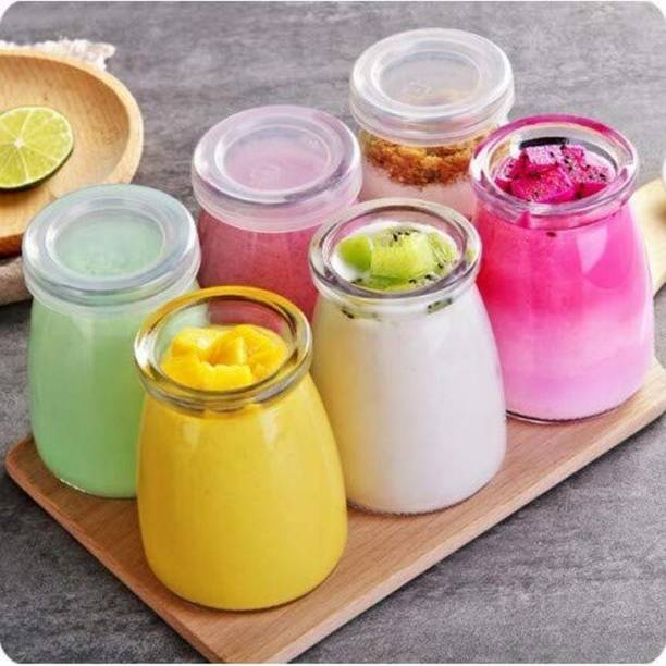 TFH TREASURE FOR HOME Glass Small Yogurt Jars,Pudding Jar with - 200 ml Glass Honey Jar (Pack of 6, Clear) - 200 ml Glass Honey Jar (Pack of 6, Clear)  - 200 ml Glass Honey Jar