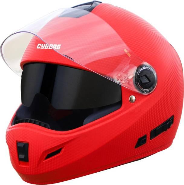 Steelbird Cyborg Double Visor Full Face Helmet, Inner Smoke Sun Shield and Outer Clear Visor Motorbike Helmet