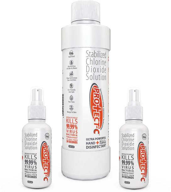 Protect-C Ultra Powerful Hand & Multipurpose Alcohol FREE, FDA Approved Disinfectant 500ml + 50ml +50ml Combo Pack