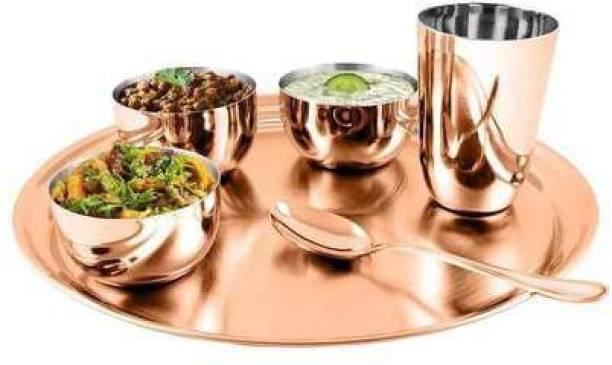 Shri & Sam Pack of 6 Steel Rose Gold Thali Dinner Set