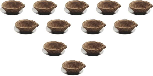 Homray Diwali Festival Organic TATVAM Panchtatva Diya Cow Dung Diyas (2 Inch*0.9 Inch) Natural/Organic Combustible PanchTatva - Cow Dunk, Gow Mutra, Atta, Haldi, Til Ka Tail/Natural/Chemical Free Pottery (Pack of 12) Table Diya Set