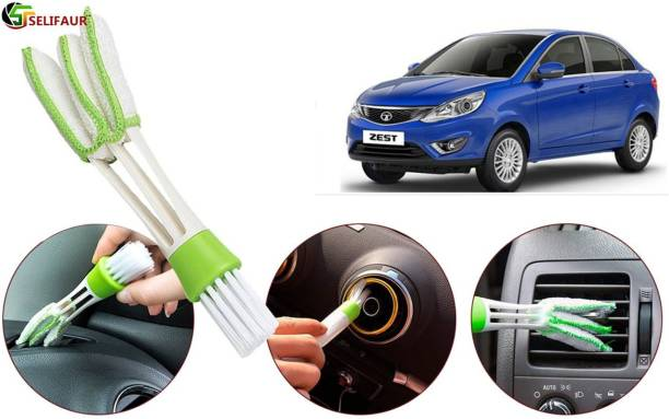Selifaur A7W351 Multipurpose Microfiber Double Sided Car AC Window Cleaning Brush Zest Wet and Dry Duster
