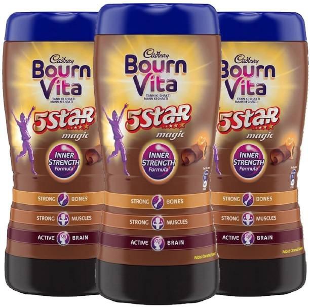 Cadbury Bournvita 5 Star Magic Health Drink (500 g Jar, Chocolate) (Pack of 3) Energy Drink