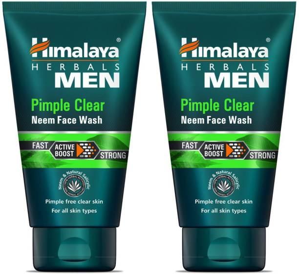 HIMALAYA Herbals Men Pimple Clear Neem  2 x 50 ml Packs Face Wash