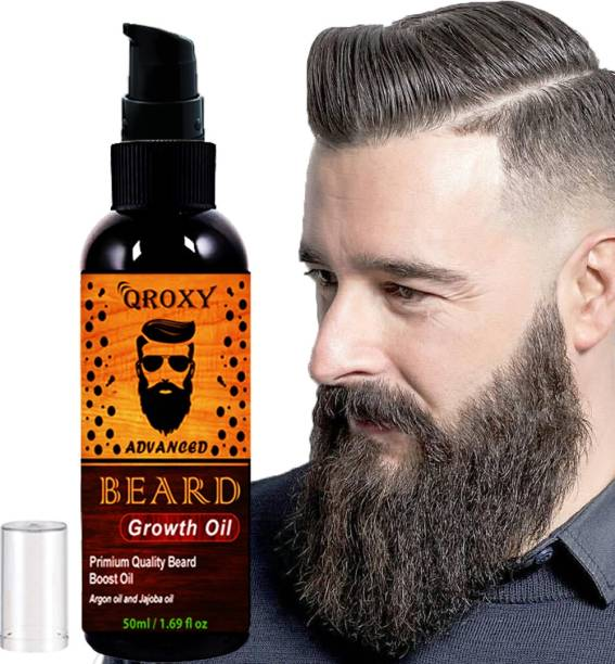 Qroxy Advanced Beard Growth Oil for strong and healthy beard growth organic beard oil Hair Oil