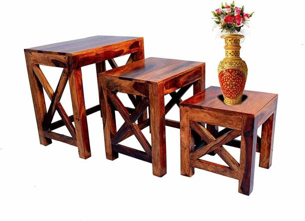 Woodware Solid Sheesham Wood Nesting Tables for Living Room Set of 3 Stools Wooden Bedside Table for Bedroom Table Set for Home and Office (Style 5) Solid Wood Nesting Table