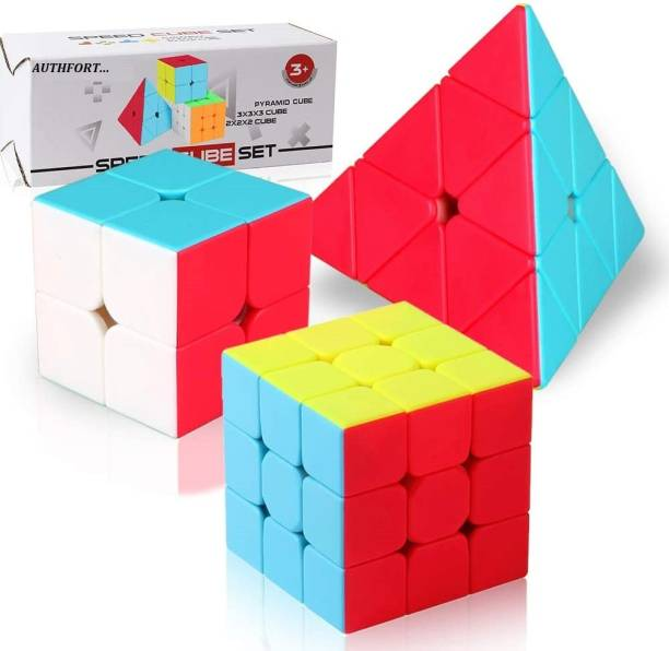 Authfort peed Cube Set, Stickerless Magic Cube Set of 2x2x2 3x3x3 Pyramid Frosted Puzzle Cube