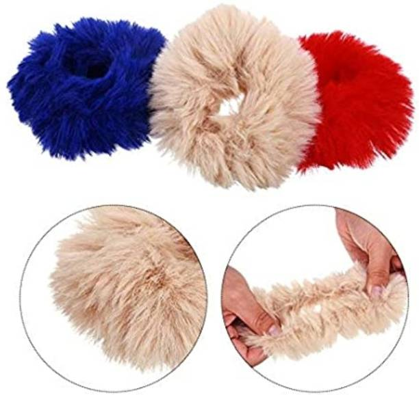 DROYALCREATIONS FLUFFY FUR HAIR BAND SET OF 3 FLUFFY FUR HAIR BAND Rubber Band