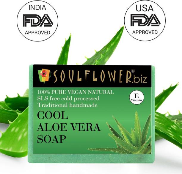 Soulflower Cool Aloevera Soap Regime 150g, For Moisturizing Soap, Anti Ageing, Acne Control, Luxury, Premium Handmade Soap