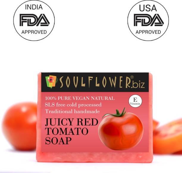 Soulflower Juciy Red Tomato Soap 150g, For Skin Brightening, Oily Skin, Anti Ageing, Luxury, Premium Handmade Soap