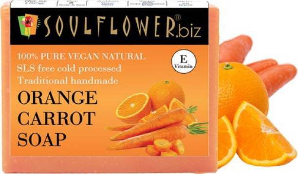 Soulflower Orange Carrot Soap 150g, For Moisturizing Soap, Pimple Care Soap, Skin Tone, Luxury, Premium Handmade Soap