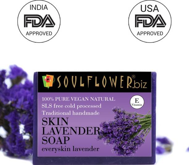 Soulflower Skin Lavender Soap 150g, For Revitalizing and exfoliating, Moisturizing Soap, Paraben Free, Cruelty Free,, Luxury, Premium Handmade Soap