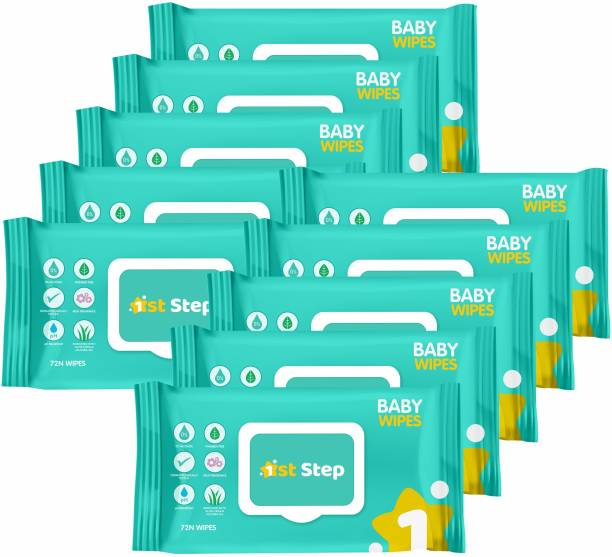 1st Step Baby Wet Wipes With Lid Enriched With Aloe-Vera And Jojoba Oil(Pack of 10)