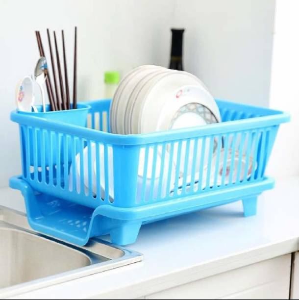 ddecora 3 in 1 Large Sink Set Dish Rack Drainer Drying Rack Washing Basket with Tray for Kitchen, Dish Rack Organizers, Utensils Tools Cutlery(BLUE) Dish Drainer Kitchen Rack