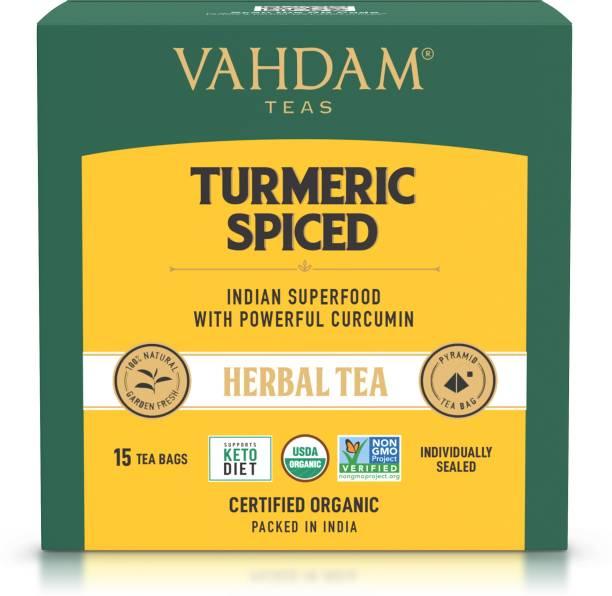 Vahdam Organic Turmeric Spiced 100% Natural Detox and Immunity Support Blend of Turmeric Powder & Fresh Spices Turmeric Herbal Tea Bags Box