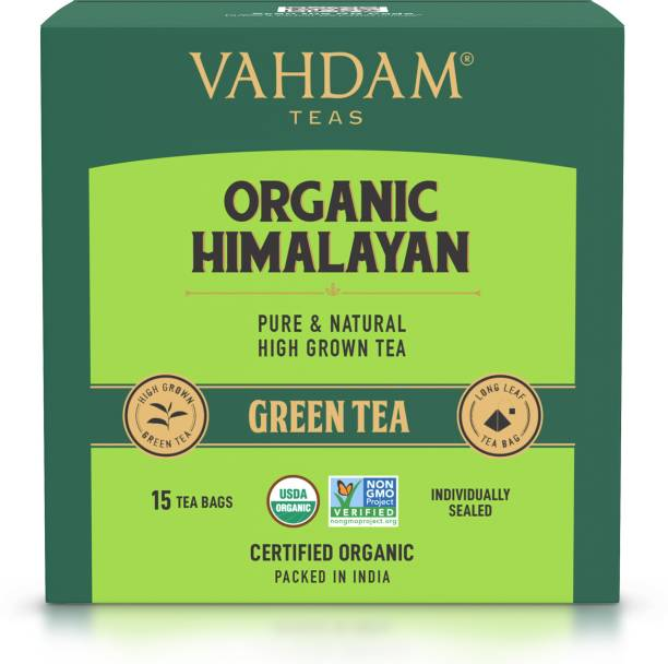 Vahdam Organic Himalayan 100% Natural Weight Loss, Detox, Slimming, Anti-oxidants Rich Unflavoured Green Tea Bags Box