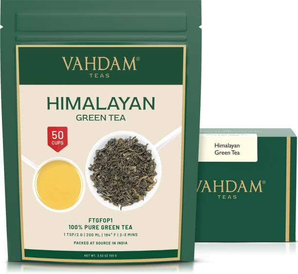 Vahdam Himalayan Organic Green Tea Leaves (50 Cups) 100 Grams Unflavoured Green Tea Pouch