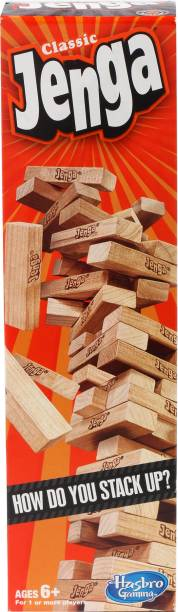 HASBRO GAMING Classic Jenga, Hardwood Blocks, Stacking Tower Game for Kids Ages 6 and Up, 1 or More Players Strategy & War Games Board Game