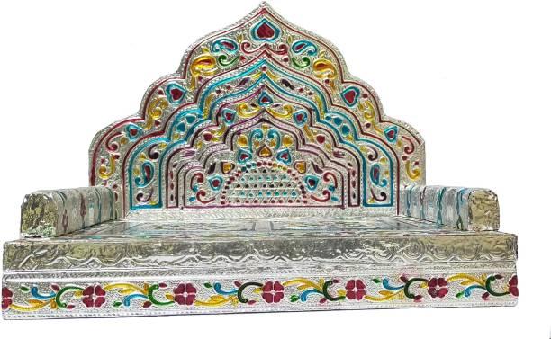 "KRISHNA SILVER MEENA ( 10"" X 7"" ) GANESH JI SINHASAN , Laddu Gopal Sinhasan Bal Gopal Singhasan Thakorji Shinghasan God Sofa Bethak Wooden, Aluminium All Purpose Chowki"