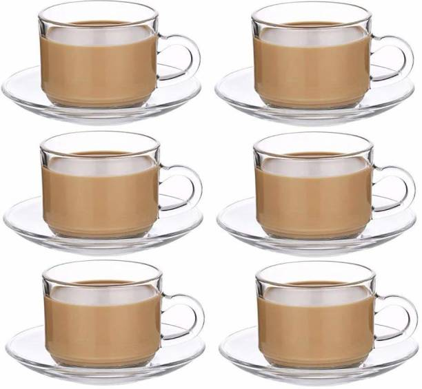 BRIGHTLIGHT Pack of 12 Glass Roma Glass Tea 6 Cup and 6 Saucer, Clear, 180 ml -Set of 6
